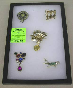 Group of vintage costume jewelry pins