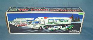 Vintage HESS toy truck and race cars
