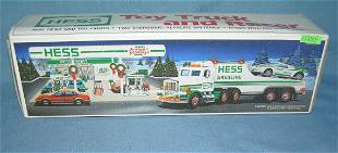 Vintage HESS toy truck and race car