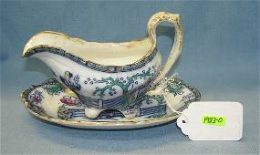 Antique hand painted Chinese gravy boat and tray