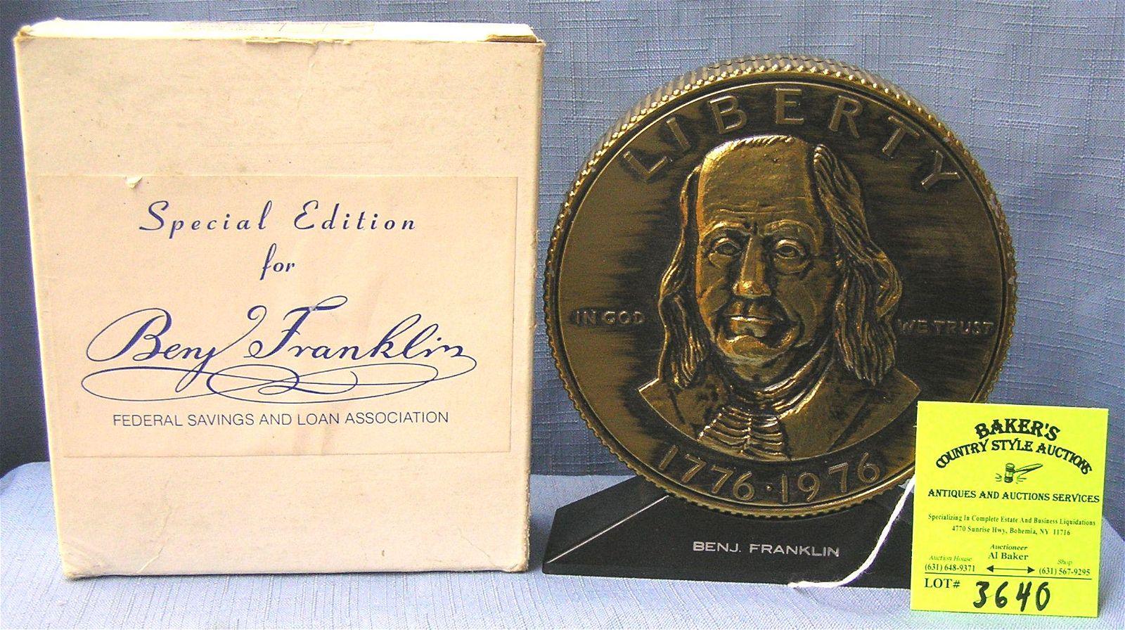 Vintage cast metal Benjamin Franklin bank