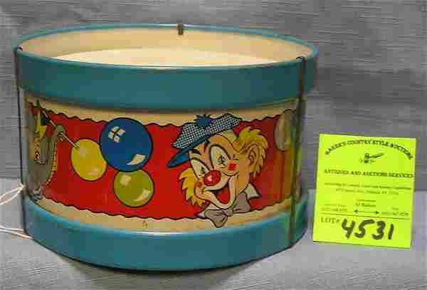 Antique tin circus decorated toy drum