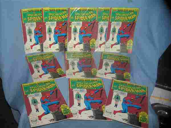 Large group of vintage super sized annual spiderman
