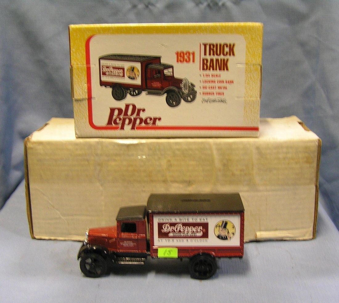 Vintage Dr Pepper all cast metal delivery truck bank