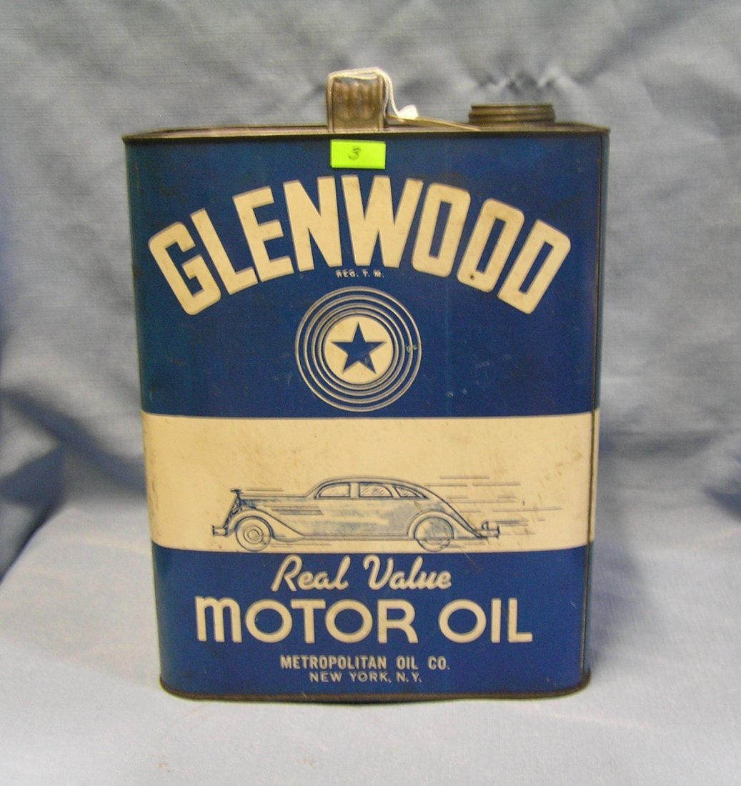 Glenn wood motor oil vintage oil can