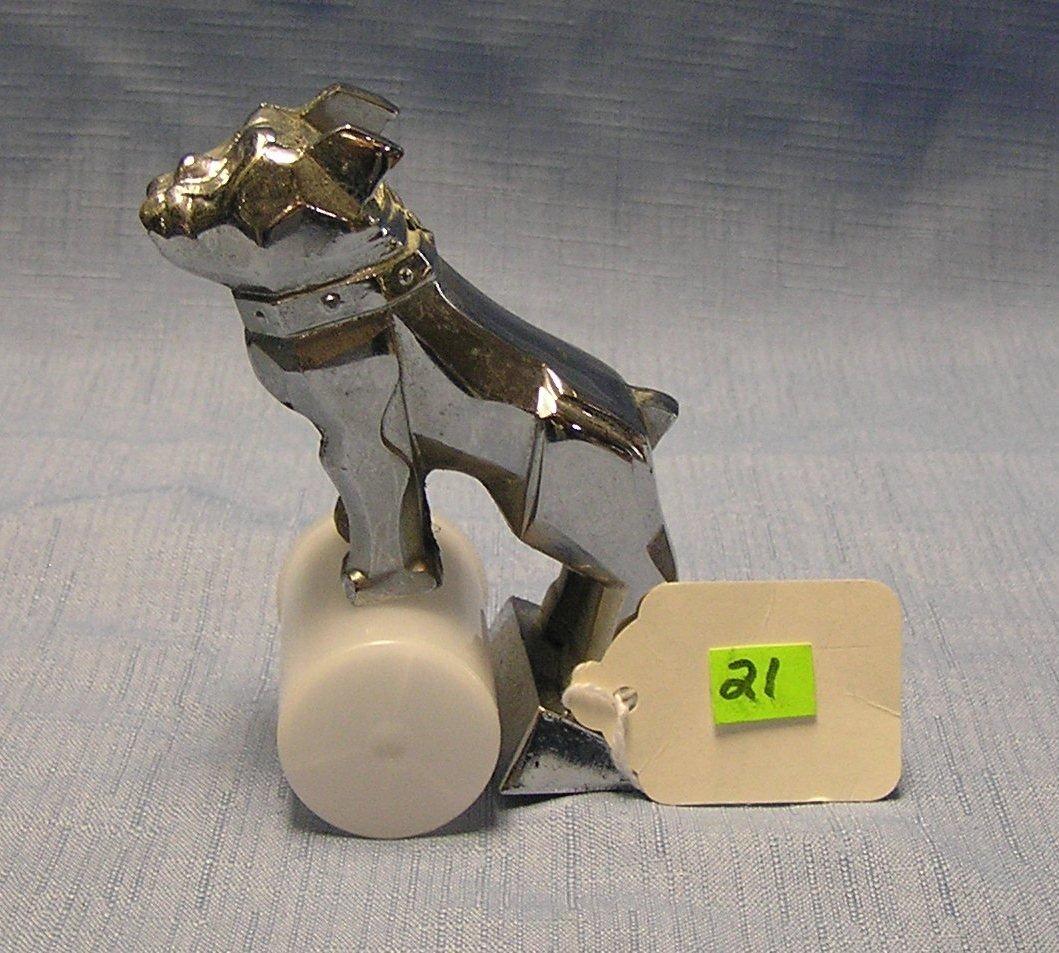 Vintage chrome over brass bull dog Mac Truck figural
