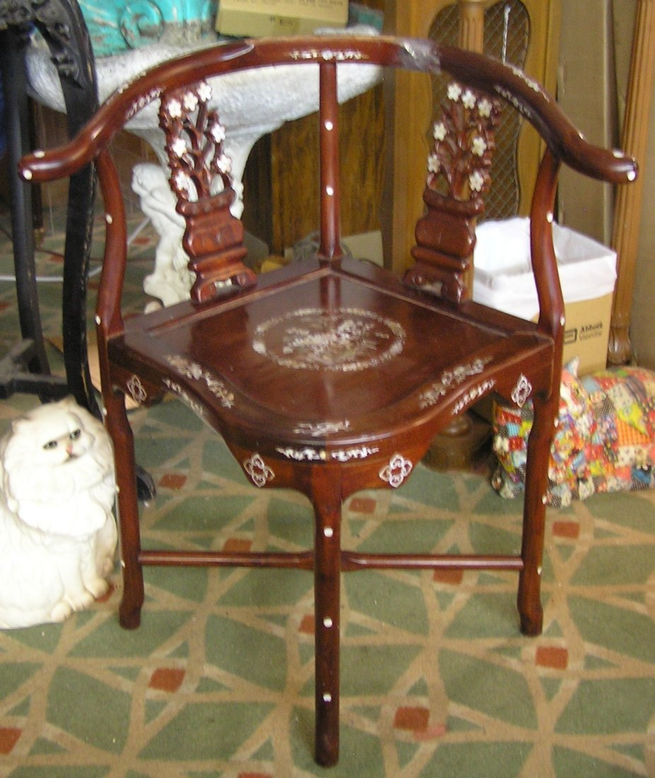 Antique style rosewood side chair with mother of pearl