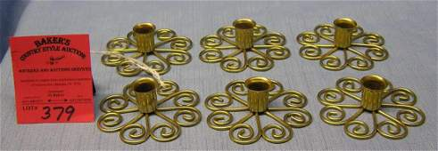 Set of six high quality brass European candle holders