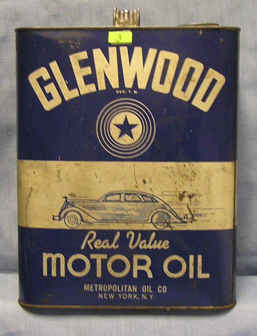 Glenwood Motor Oil vintage oil can