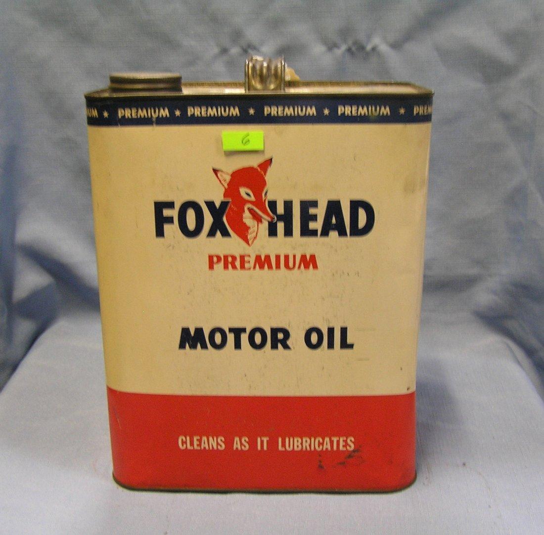 Fox Head premium motor oil can two gallon size