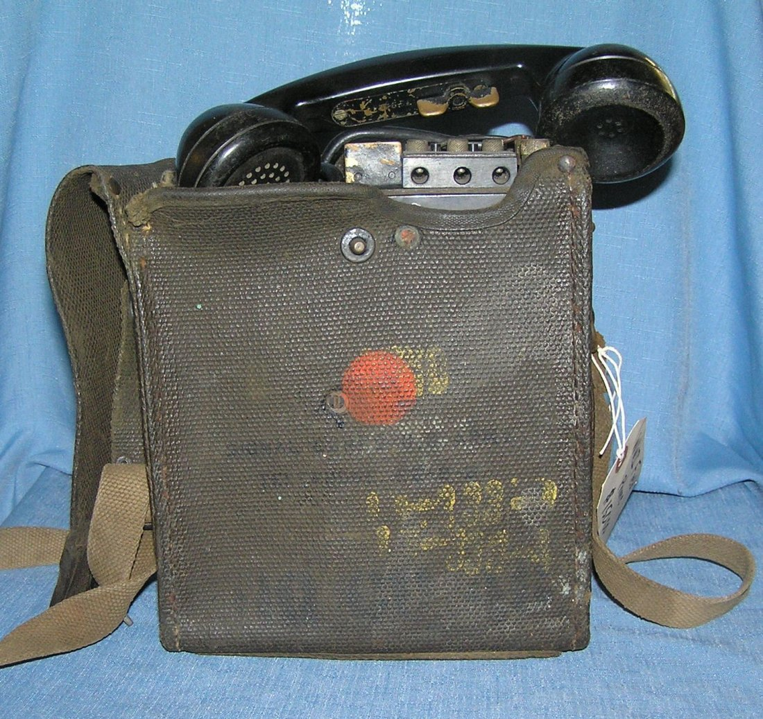 Vintage WWII military field phone
