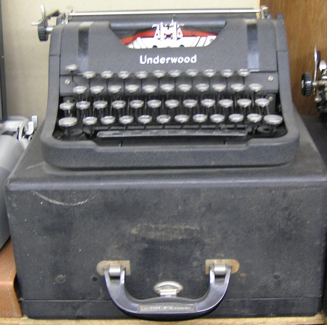 Antique Underwood typewriter with original case