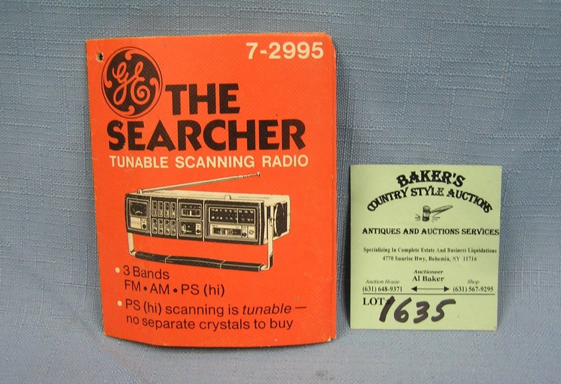 The Searcher tunable scanning radio booklet by GE