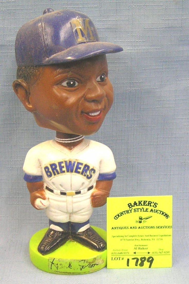 Vintage Hank Aaron bobble head sports figure dated