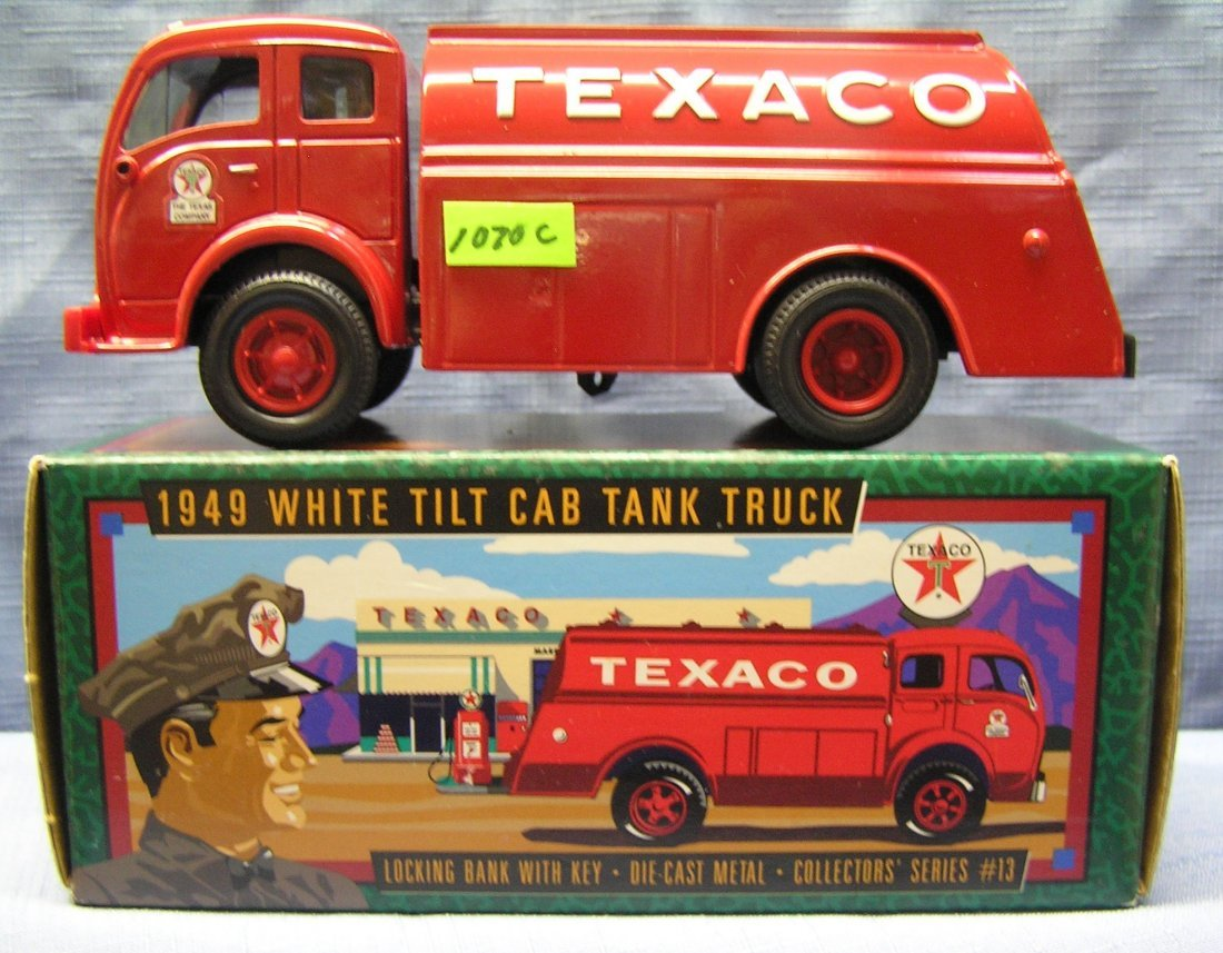Vintage all cast metal Texaco delivery truck bank