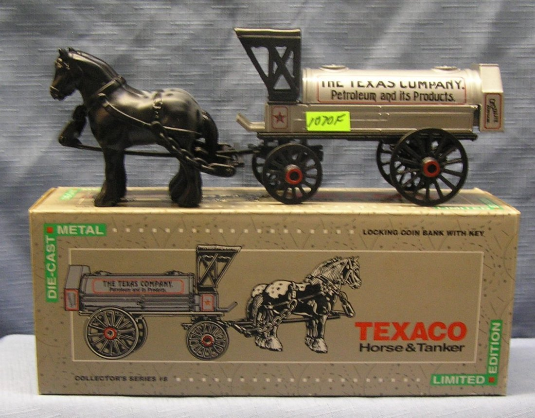 Vintage all cast metal Texaco horse drawn delivery