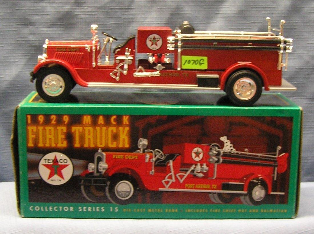 Vintage all cast metal 1929 Texaco Mack fire truck bank