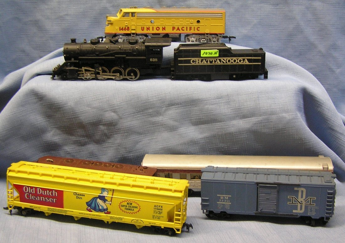 Group of vintage HO trains by Tyco
