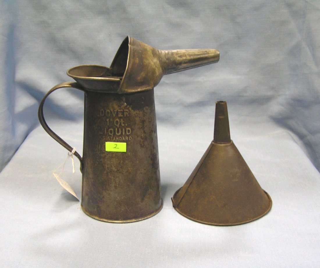 Antique one quart automotive oil can and funnel