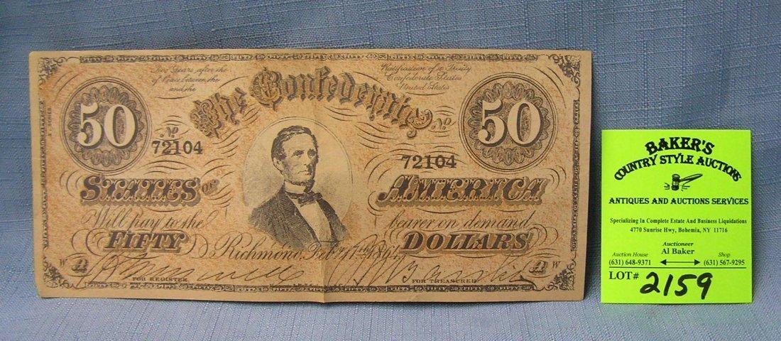 Civil War confederate 50 dollar bill