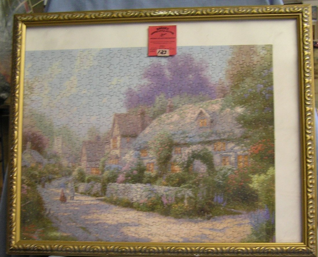 Matted and framed Thomas Kinkade artist signed puzzle