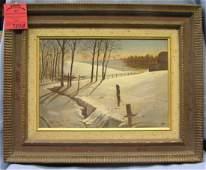 oil painting winter landscape, country farm scene