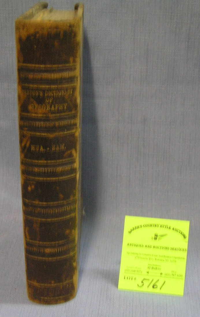 Antique leather bound book Dictionary of Geography