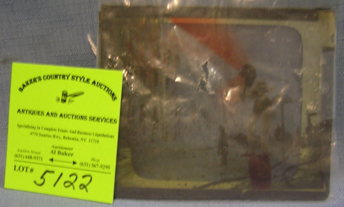 Antique fire department image glass magic lantern slide