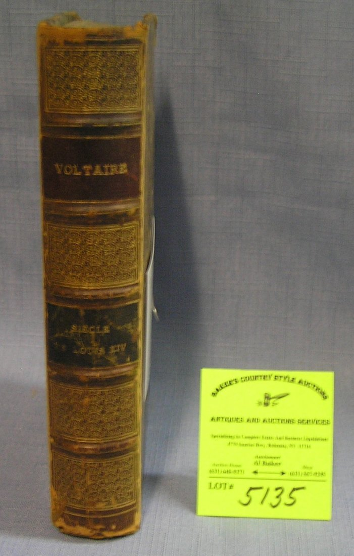 Antique leather bound book century of Louie the 14th by