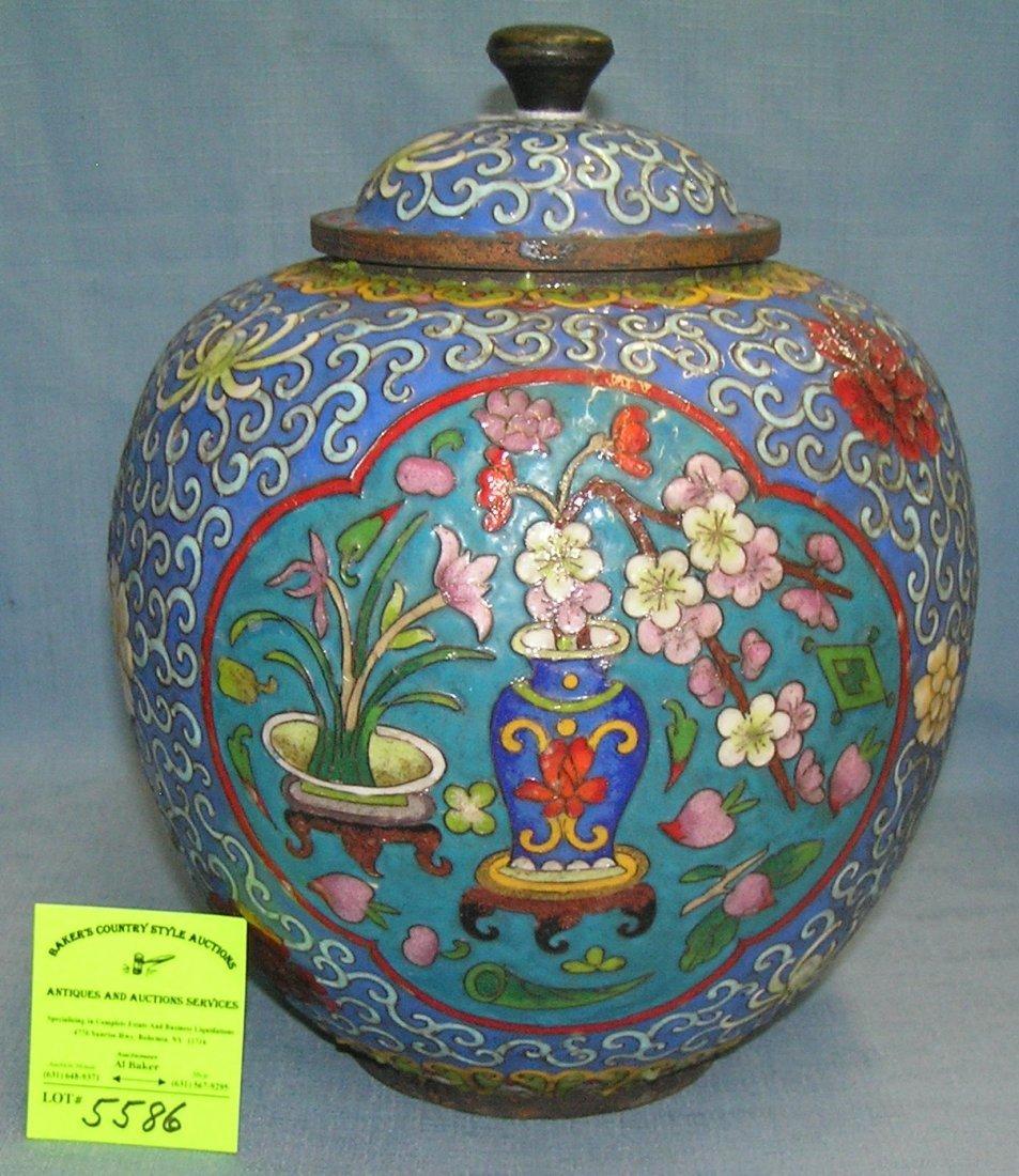 Antique cloisonné ginger jar
