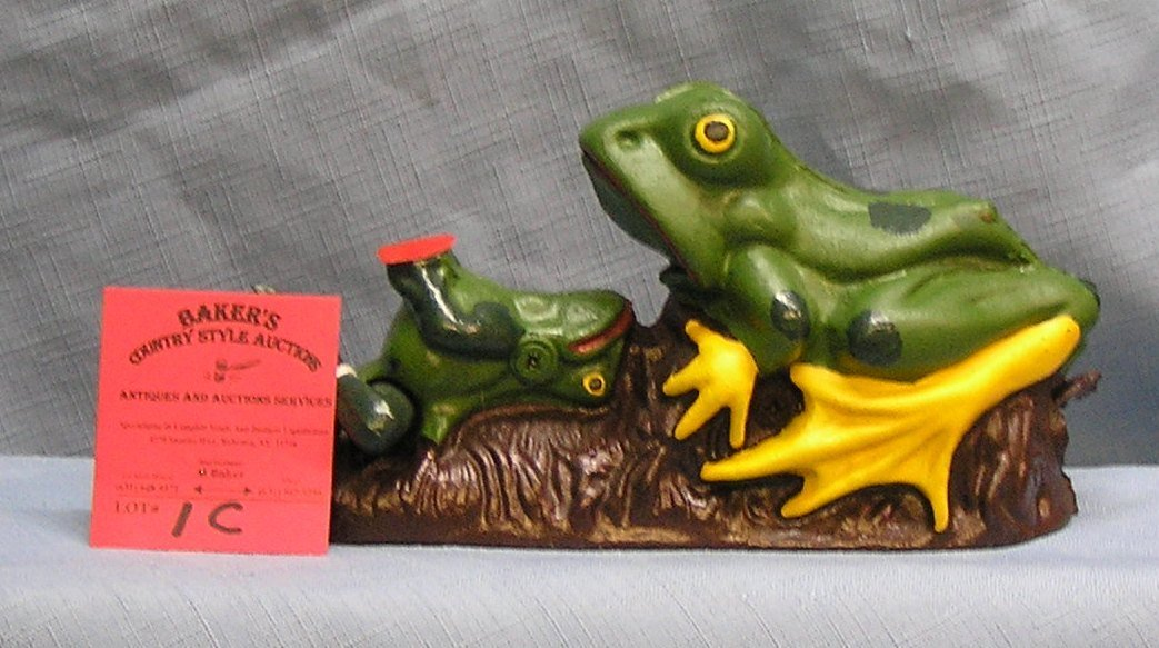 Hand painted cast iron two frogs mechanical bank