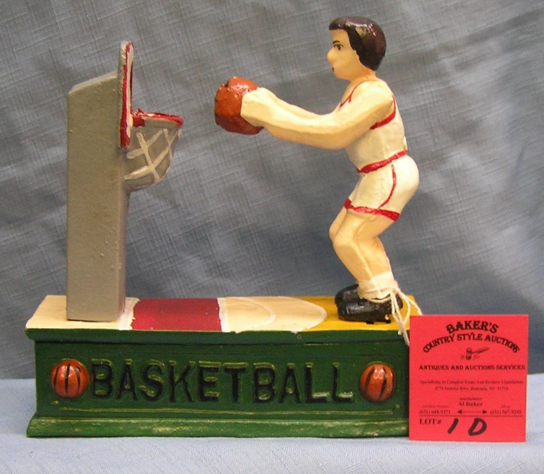 Hand painted cast iron basketball mechanical bank