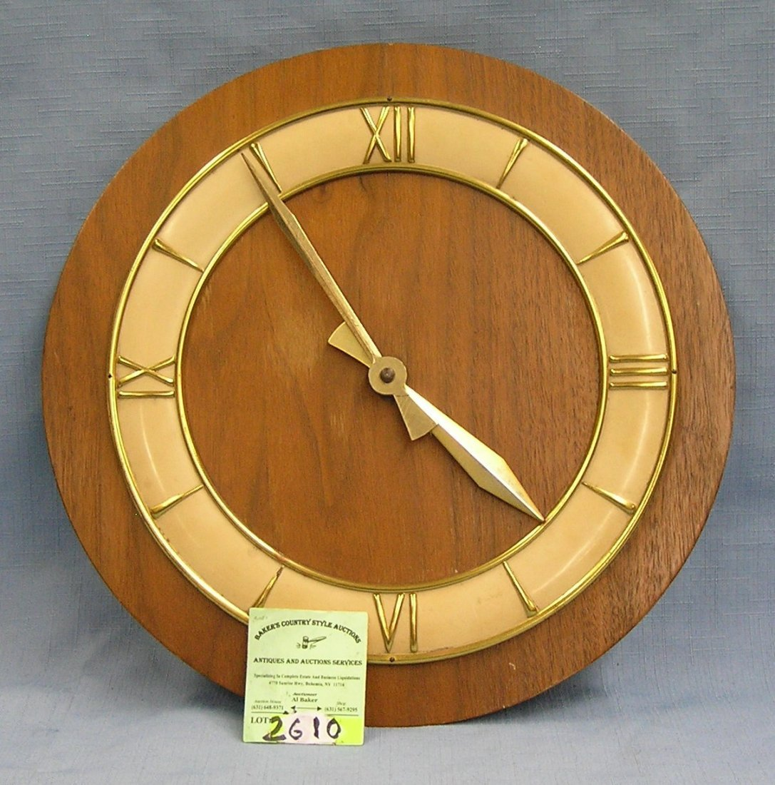 Vintage German made wall clock brass with oak base