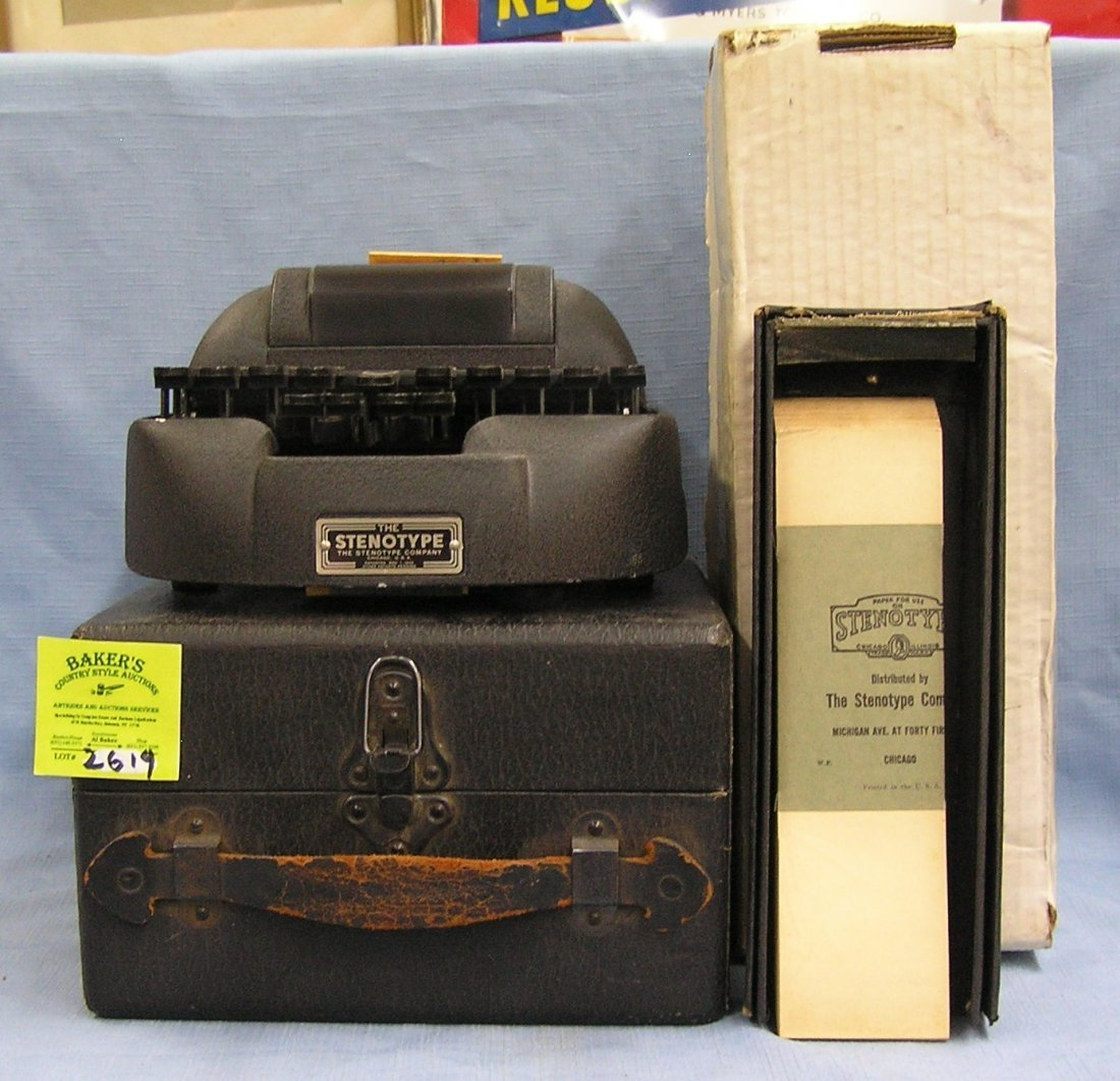 Antique Bakelite stenotype machine with original box