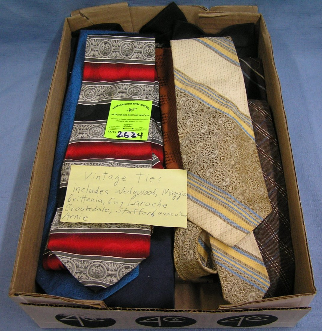 Box full of vintage silk ties