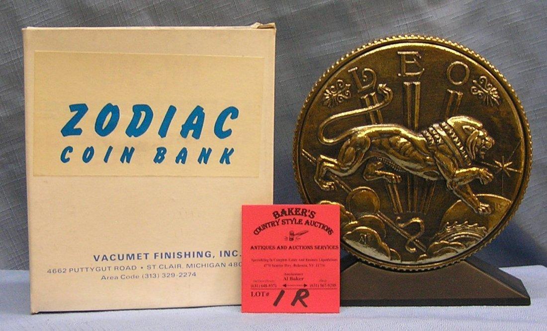 Vintage cast metal zodiac bank Leo