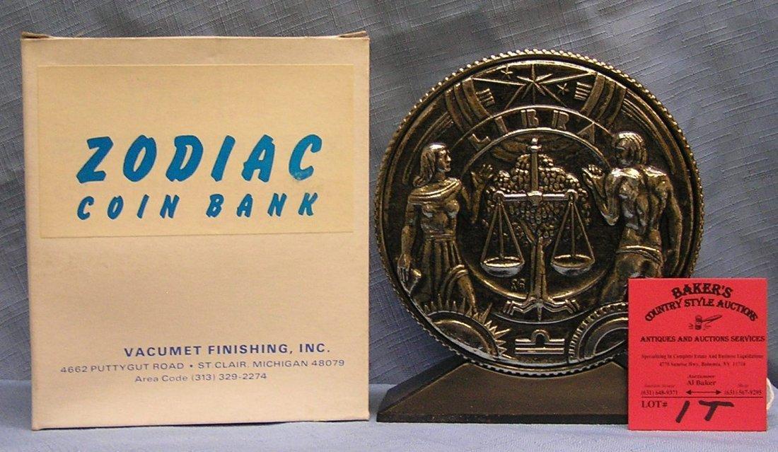Vintage cast metal zodiac bank Libra