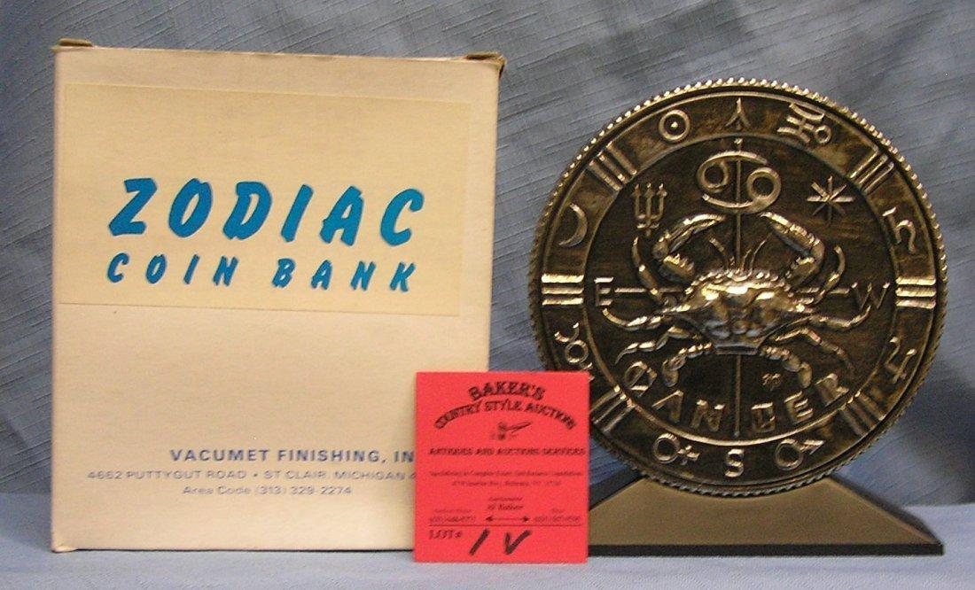 Vintage cast metal zodiac bank Cancer