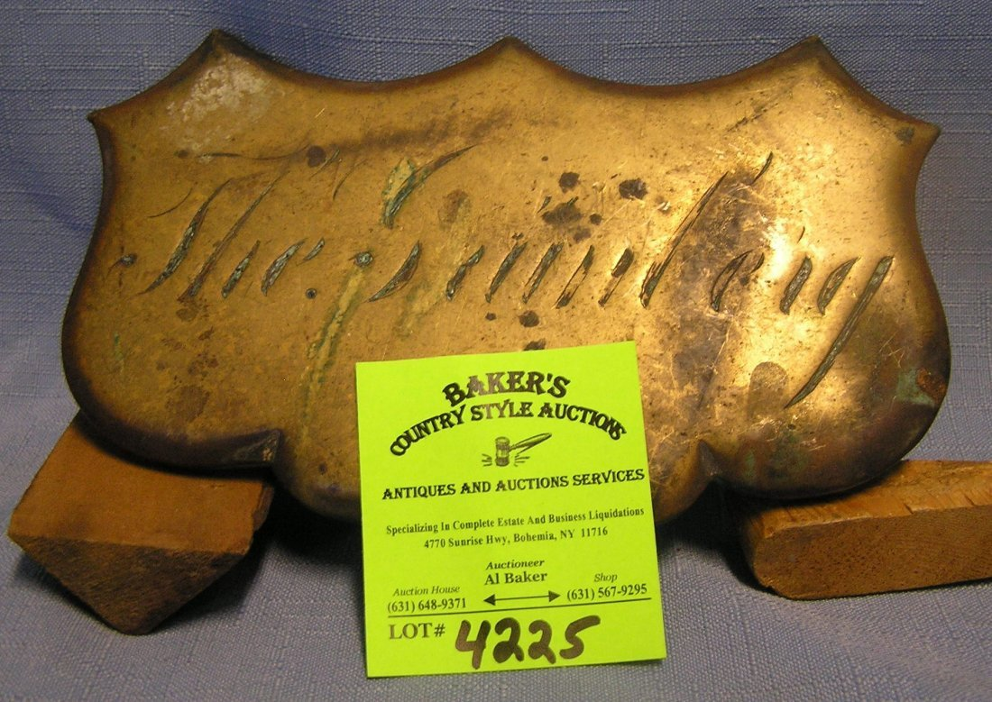 Antique solid bronze casket/mausoleum plaque