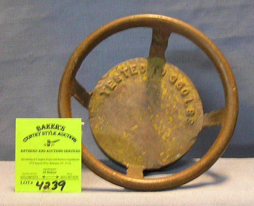 Antique solid brass fire extinguisher screw on cap