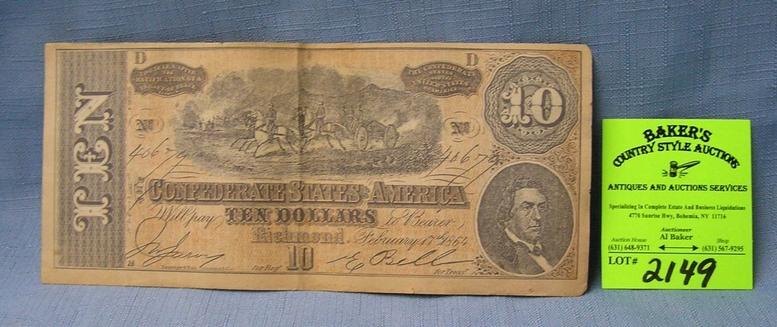 Civil War confederate 10 dollar bill