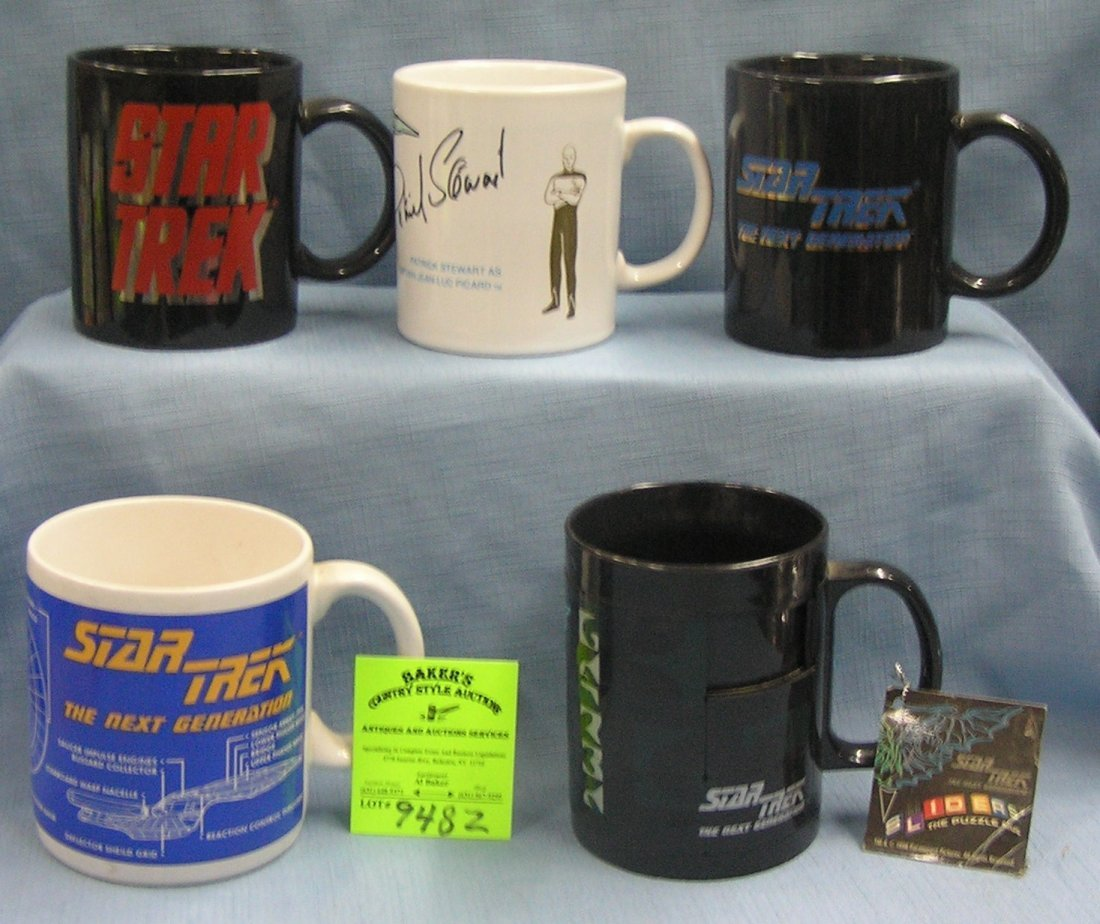 Group of 5 vintage Star Trek mugs