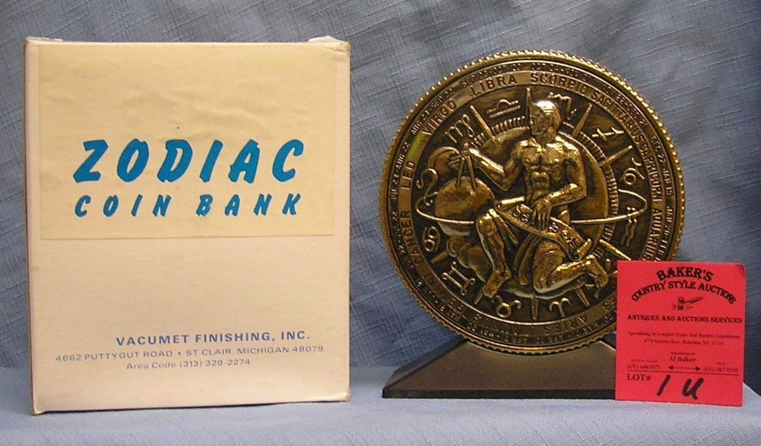 Vintage cast metal zodiac bank Saggitarius