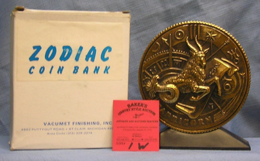 Vintage cast metal zodiac bank Capricorn