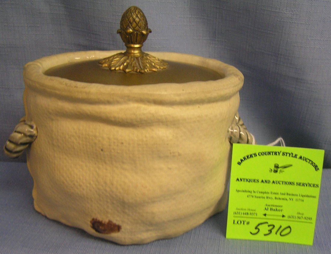 High quality porcelain tobacco jar with brass cover