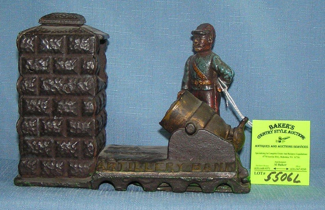 Vintage hand painted cast iron Civil War artillery bank