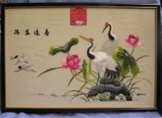 Original oriental silk hand made wall painting