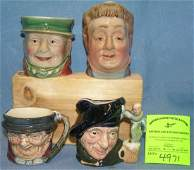 Group of four English Toby mugs includes Royal Dalton
