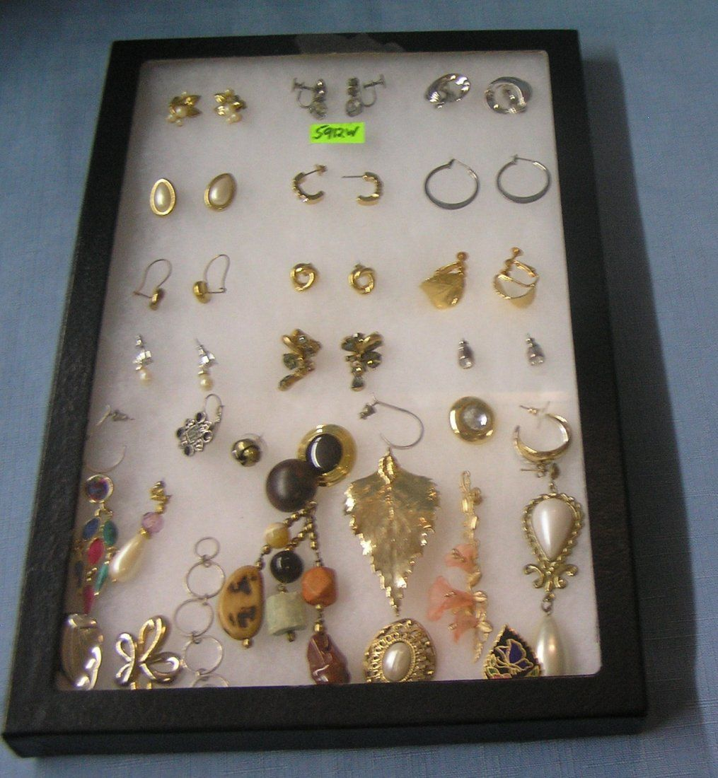 Group of vintage costume jewelry earring sets
