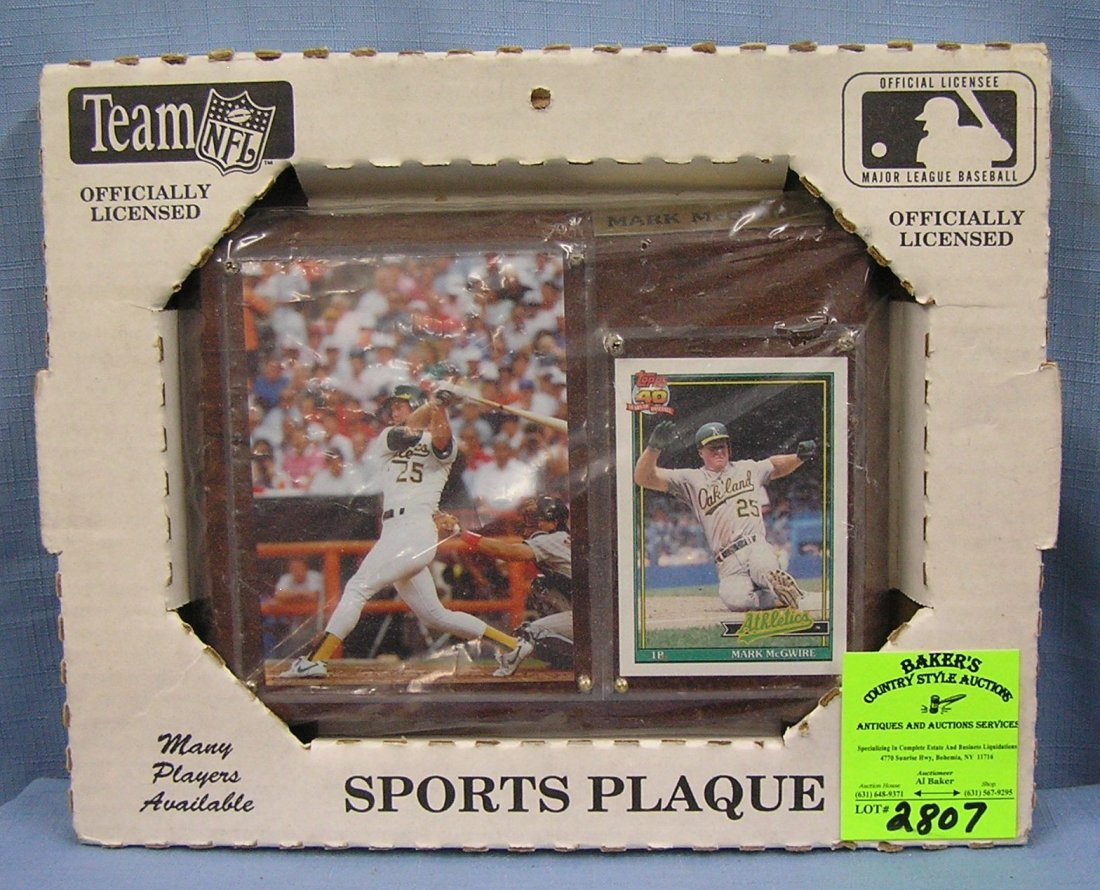 Vintage Mark McGwire baseball plaque and photo card